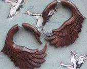 Natural Brown Sono Wood - JAYA Swan Earrings - Organic Fake Gauges