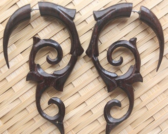 INFERNO Earrings - Brown Organic Fake Gauges - Hand Carved Flames - Natural Sono Wood