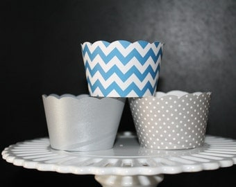 Grey and Turquoise/Blue Cupcake Wrappers