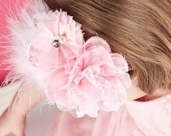 Baby Girl Headband - Pink Princess Feather and Flower Cluster Over the Top Headband Photo Prop