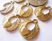 The Heart Angel Wing Charms Pendant Light Gold Plated Charm 1 Pcs.