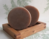 Round Goats Milk Cocoa Butter Cold Process Soap Michigan Woodsy Natural Brown