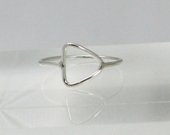 silver ring, sterling silver ring, triangle ring, sideways triangle ring, statement, eco friendly, silver triangle ring