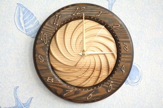 "Wood carved wall clock "" Swirled Time """