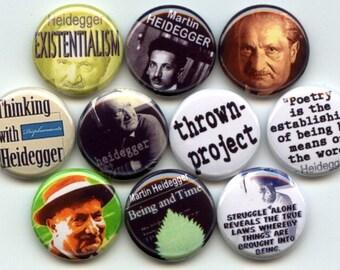 "Martin Heidegger German Existential Philosopher phenomenology 10 Pinback 1"" Buttons Badges Pins"