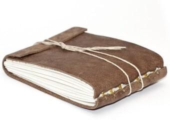 "Rustic Leather Journal or Leather Sketchbook, Speckled Brown, Pocket Sized, Handbound Coptic Stitch - 2 3/4"" x 3 3/4"""