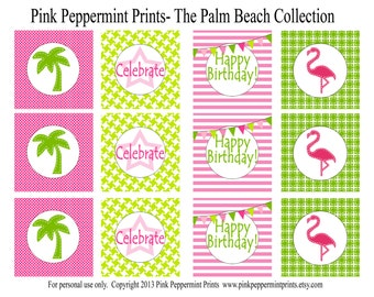 NEW INSTANT DOWNLOAD The Palm Beach Pink Flamingo Printable Party Collection 2 inch party tags, cupcake toppers