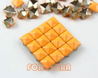 50Pcs 8mm Bright Orange Color PYRAMID Studs (CP-2007-08)