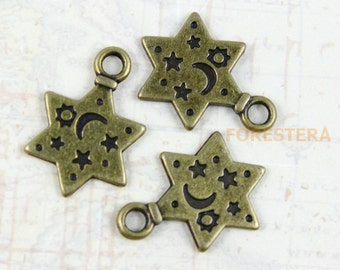25Pcs Antique Brass Star Charm Star Pendant 13mm (PND254)