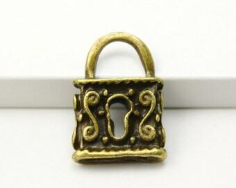 10Pcs Antique Brass lock Charm lock Pendant 23x16mm (PND300)