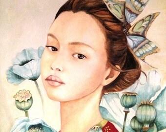 Sayuri and the poppies art print
