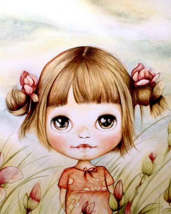 child art print with magnolias
