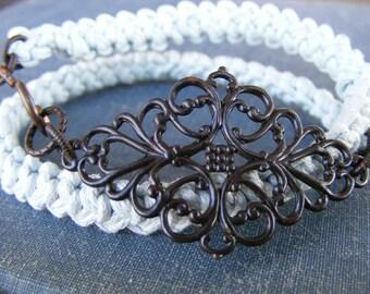 Filigree Kiss Wrap Bracelet:  Romanian Crochet Pale Blue Cotton Bracelet with Gorgeous Brass Filigree
