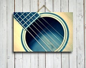 Guitar Strings - Guitar art - Guitar art canvas - Guitar photography - Blue Guitar - Guitar decor - Music decor