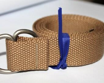 Mens Khaki Belt Canvas Belt  Webbing Belt D Ring Belt Tan Mens Belt Light Brown Belt Ladies khaki Belt Ladies Webbing Belt D ring Cinchbelt