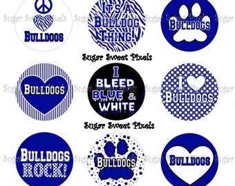 INSTANT DOWNLOAD Blue Bulldogs  School Mascot 1 inch Circle Bottlecap Images 4x6 sheet