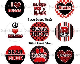 INSTANT DOWNLOAD Red Bears  School Mascot 1 inch Circle Bottlecap Images 4x6 sheet