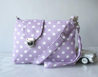 Lilac  and White Polka Dot  Midi Messenger  Bag  Wirstlet and  shoulder Adjustable strap Zipper Closure