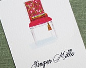 Personalized business card with Magenta Chair, Books and Tassel - Set of 50
