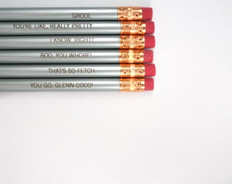 mean girls pencil set engraved pencil set 6 silver pencils. that's so fetch. I know, right.
