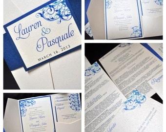 Pocketfold Wedding Invitations, Custom Invitations, Royal Blue, Champagne, Wedding Invitations, Weddings, pocketfold