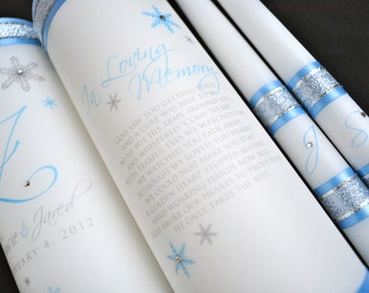 Monogram unity candle and memorial candle