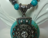 SALE One of a kind Turquoise Statement Necklace, Vintage Turquoise Pendant Necklace, Tibetan Turquoise Necklace