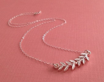 Laurel Branch Necklace in Sterling Silver -Silver Leaf Necklace -Sterling Branch Necklace