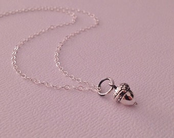 Silver Tiny Acorn Necklace -Acorn Necklace in Sterling Silver -Silver Acorn Jewelry
