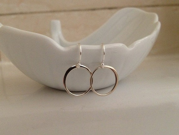 Tiny Ring Earrings in Sterling Silver -Crescent Ring Earrings