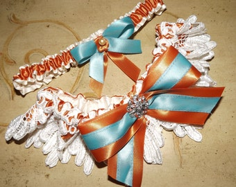 Ivory Lace Burnt Sienna and Turquoise Wedding Bridal Garter Set, Southwestern Colors