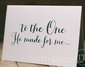 Wedding Card to Your Bride or Groom - To the One He Made for Me - Christian Religious Love Card Be My Valentine's Day Anniversary Card CS02