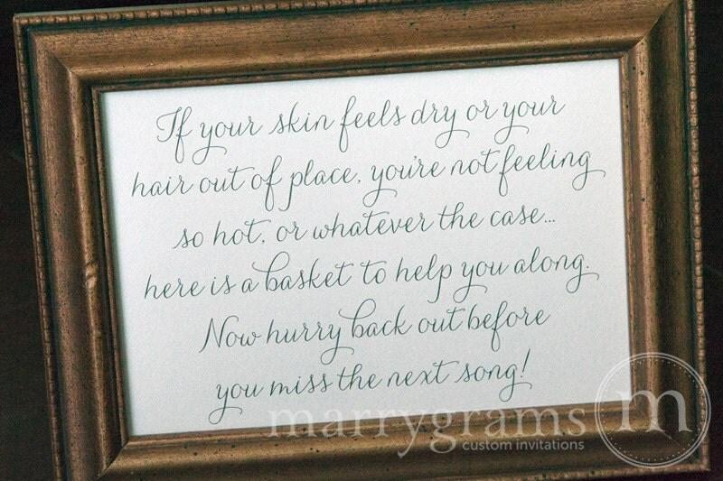 Wedding Bathroom Basket Sign Wedding Reception Signage