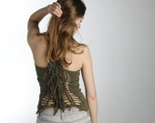 Green tribal top - Festival fringe tank - bohemian hippie shirt - party punk eco fashion - XS S US 4 6