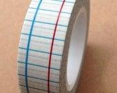 Blue and Red Line Grid - Japanese Washi Masking Tape - 11 yards