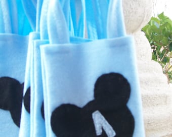 MICKEY MOUSE PARTY/felt party bags/ supplies/boy/first birthday/set of 6 funny favor/ mickey mouse party supplies