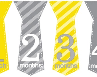 Monthly Baby Boy Tie Stickers, Milestone Stickers, Baby Month Stickers, Monthly Bodysuit Sticker, Monthly Stickers Yellow Gray (Garrison)