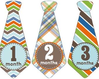 Monthly Baby Boy Tie Stickers, Baby Month Stickers, Monthly Bodysuit Sticker, Monthly Stickers, Milesone Stickers (Taylor)