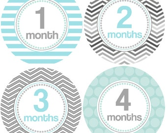 Monthly Baby Boy Stickers Baby Month Stickers, Monthly Bodysuit Sticker, Monthly Stickers Gender Neutral Blue Gray Stripes Chevron (Miller)