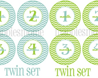 TWIN SET Monthly Baby Stickers, Milestone Stickers, Baby Month Stickers, Monthly Bodysuit Sticker, Monthly Stickers (Blue and Green Chevron)