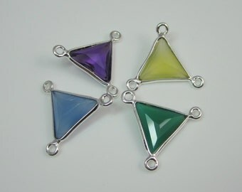 925 Sterling Silver Bezel Triangle Connector,Genuine Chalcedony,Gemstone Component,3 Ways Link,Pendant,Link,Charm,Jewelry Finding-1 Piece