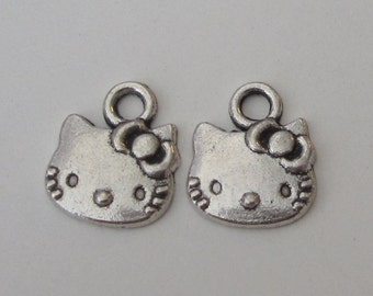 10 pcs of Tibetan Antique Silver Hello Kitty Charms Pendants Jewelry Pendants (11x13MM)
