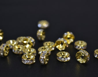 10 Pcs - 4MM Clear Rhinestone Spacer Beads, Clear Rondelle Gold Spacer, Gold Plated Beads,Crystal AB Rhinestone - SP004