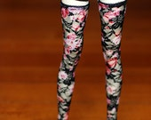 Super Gem EID Black And Red Floral Stockings For SD BJD