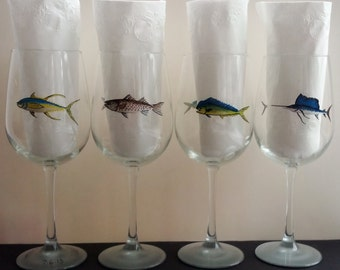 Sport fish hand painted wine glasses