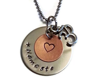 Namaste Necklace, Hand Stamped yoga, meditation, heart centered necklace by Moonstone Creations