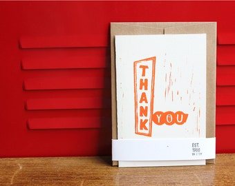 Thank You, Linoleum Block Card with envelope