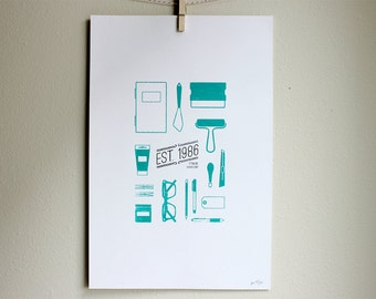 Simple Silkscreen Poster - Est. 1986 Shop Print