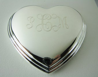 Jewelry Box Custom Engraved Personalized Silver Heart Shape Jewelry Box - Hand Engraved