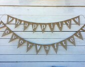 HAPPILY EVER AFTER burlap banner bunting - wedding garland